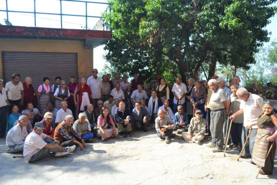 Residents and staff of the Jampaling Elder Home in Dharamsala.