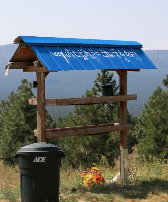 Bird feeder at Buddha Amitabha Pure Land with roof painted with a mantra to bless all the birds who go under it to eat. Washington State, 2014. Photo by Ven. Kunsang.