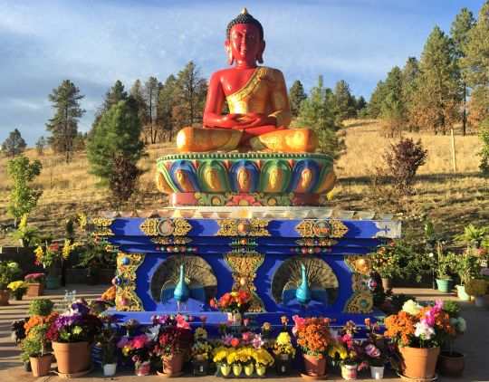 Amitabha Buddha Statue with flower offerings, Buddha Amitabha Pure Land, Washington State, USA, October 2016.