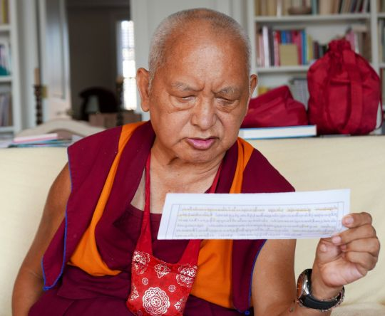 Lama Zopa Rinpoche recites the Aryasanghata Sutra, New York, USA, 2016. Photo by Ven. Roger Kunsang.