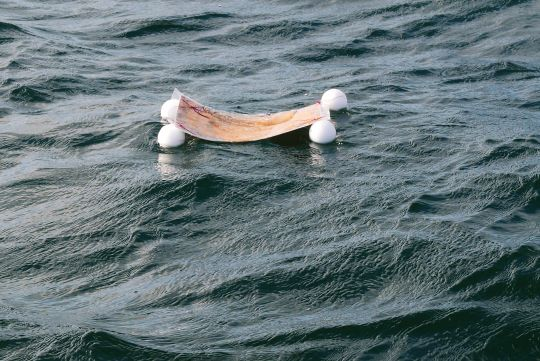 One of the Namgyalma mantras floating on the Atlantic ocean off New York, August 2016.