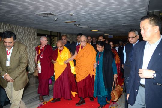 His Holiness the Dalai Lama, with Lama Zopa Rinpoche, FPMT CEO Ven. Roger Kunsang, and Prof. Renuka Singh, Dharma Celebration, New Delhi, India, December 2016. Photo by Subhash.