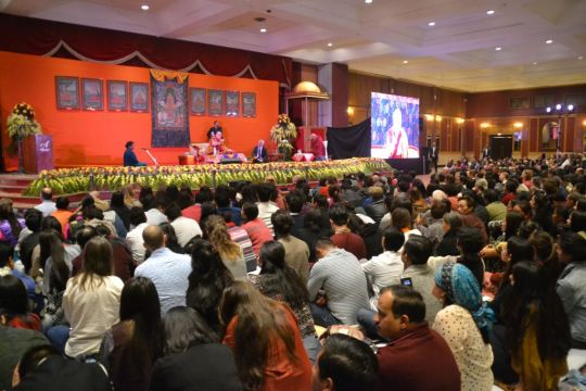 More than 1,500 people attended His Holiness's talk at the 21st annual Dharma Celebration, New Delhi, India, December 2016. Photo by Subhash.