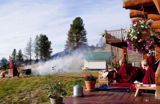 Lama Zopa Rinpoche and Sangha offering incense to benefit beings at Buddha Amitabha Pure Land, Washington State, USA, November 2016. Photo by Ven. Roger Kunsang.