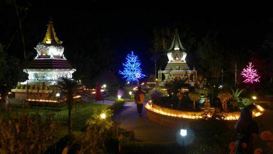 Offered lights at Kopan Monastery, Nepal, November, 2016. Photo by Laura Miller.