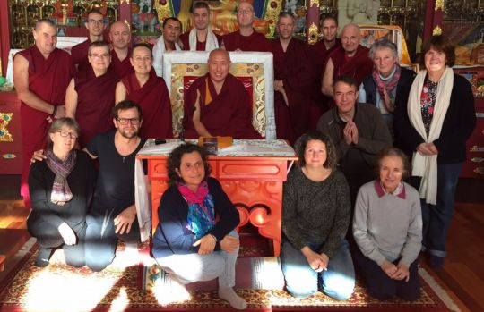 Final session of Nalanda Monastery's second Basic Program, December 2016. With BP teacher Geshe Jamphel Gyaltsen; BP coordinator Ven. Rigchog (back row, fifth from the right) and their three interpreters, for the English: Katie Fradet, center front; for the Spanish: Montse Lobett Brandt (front row, first on the left); and for the French: Ven. Dorje.