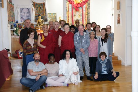 Centre Kalachakra's last class of their second BP with teacher Geshe Dakpa Tsondu, Center Director Ven. Elisabeth Drukier (center), BP Coordinator Virginie Breit (second right, back row), and interpreter Lesley (5th from right, back row). August 2016, Paris, France.
