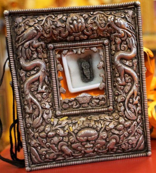 Relic from Thangtong Gyalpo, self-emanating from dog bone. Kopan Monastery, December 2016. Photo by Ven. Losang Sherab.