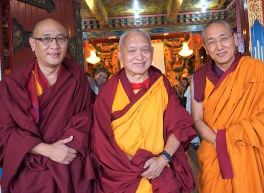 Chusang Rinpoche, Lama Zopa Rinpoche, and Khen Rinpoche Geshe Chonyi, Kopan Monastery, Nepal, December 2016. Photo by Ven. Losang Sherab.