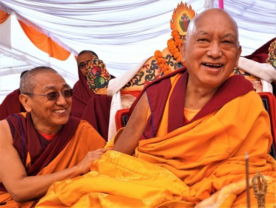 Khen Rinpoche Geshe Chonyi and Lama Zopa Rinpoche at the 100,000 tsog offering Guru Rinpoche puja, Kopan nunnery, Nepal, December 2016. Photo by Ven. Lobsang Sherab.