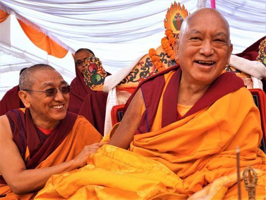 Khen Rinpoche Geshe Chonyi and Lama Zopa Rinpoche at the 100,000 tsog offering Guru Rinpoche puja, Kopan nunnery, Nepal, December 2016. Photo by Ven. Lobsang Sherab.
