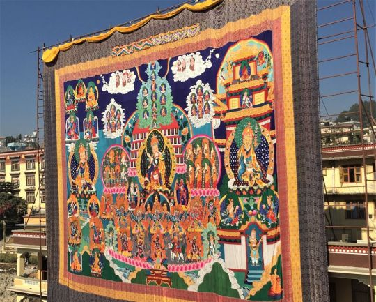 Enormous Guru Rinpoche thangka at Kopan nunnery, Nepal, December 2016. Photo by Ven. Holly Ansett.