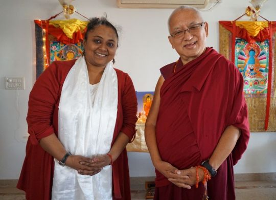 Lama Zopa Rinpoche with FPMT India National Coordinator Deethy Shekhar  in Bangalore, India, December 2016. Photo by Ven. Sherab.