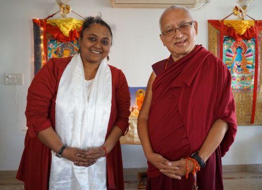 Lama Zopa Rinpoche with FPMT India National Coordinator Deethy Shekhar inBangalore, India, December 2016. Photo byVen. Sherab.