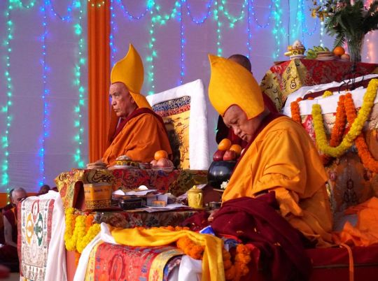 Jangtse Chöje Rinpoche and Lama Zopa Rinpoche during the long life puja offered to Lama Zopa Rinpoche on July 2, Bodhgaya. Photo by Ven. Sherab.