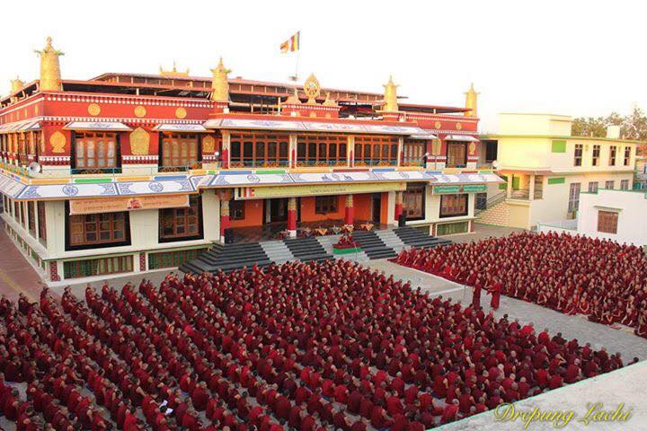 Monks participating in the annual Winter Jang Debate at Drepung Monastery, India.