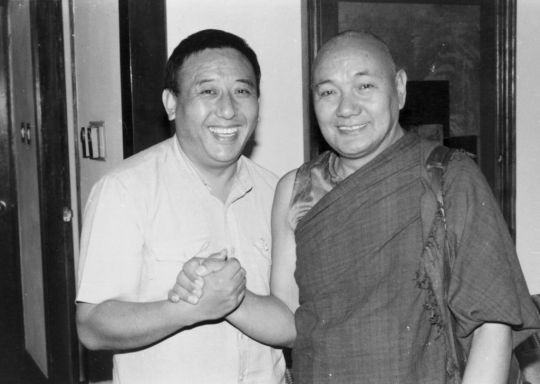 Gelek Rinpoche with Lama Yeshe at Rinpoche's house. Lama Yeshe would go there to buy texts. Photo courtesy of Lama Yeshe Wisdom Archive.