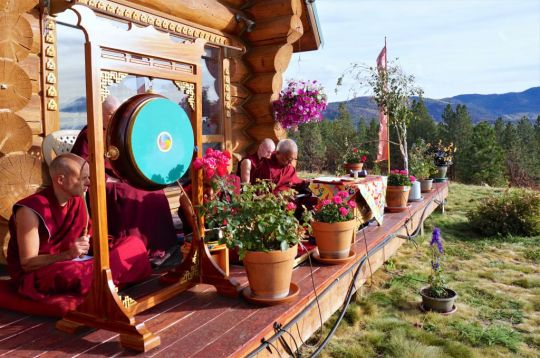 Incense offering puja dedicated to all beings who are sick presided over by Lama Zopa Rinpoche at his house, Buddha Amitabha Pure Land, Washington State, USA. November 2016. Photo by Ven. Lobsang Sherab.