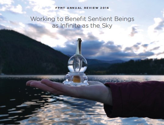 The cover of FPMT Annual Review 2016: Working to Benefit Sentient Beings as Infinite as the Sky