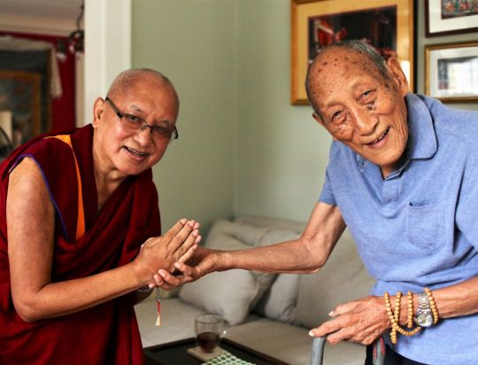 Lama Zopa Rinpoche visiting Khyongla Rato Rinpoche on Chokhor Duchen to respectfully make offerings to his Guru. New York, USA, August 2016. Photo by Ven. Lobsang Sherab.