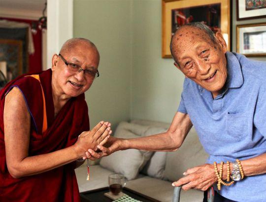 Lama Zopa RinpochevisitingKhyonglaRatoRinpocheonChokhorDuchentorespectfullymakeofferingstohisGuru. New York, USA, August 2016. Photo by Ven. Lobsang Sherab.