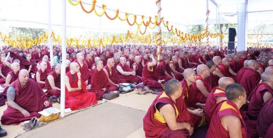 Sangha participating in the long life puja offered to Lama Zopa Rinpoche.