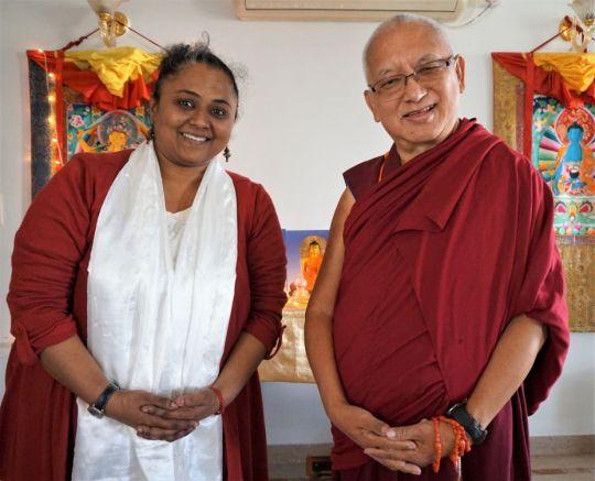 Lama Zopa RinpocheandDeepthy Chandrashekhar, FPMT's Indianationalcoordinator, Bangalore, India, December 2016. Photo by Ven. Lobsang Sherab.