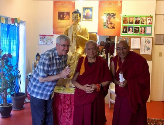 Lama Zopa Rinpoche with Geshe Sherab, and Don Handrick, who are the resident geshe and resident teacher, respectively, at Thubten Norbu Ling, Santa Fe, New Mexico, US, August 2017. Photo courtesy of Thubten Norbu Ling.