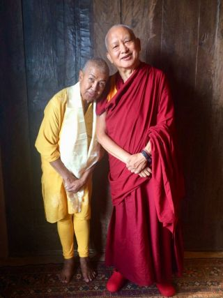 Lama Zopa Rinpoche and Ven. Max Mathews, Thubten Norbu Ling, Santa Fe, New Mexico, US, August 2017. Photo courtesy of Thubten Norbu Ling.