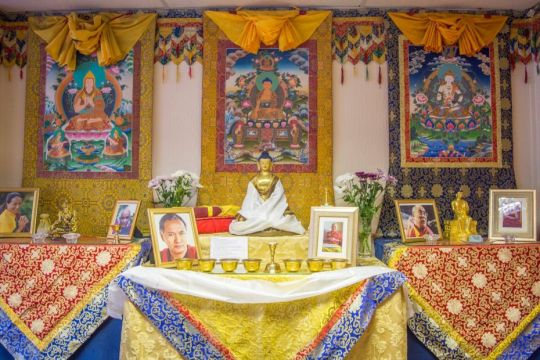 Jamyang Buddhist Centre Leeds altar, August 2017. Photo by Tsanka Petkova.