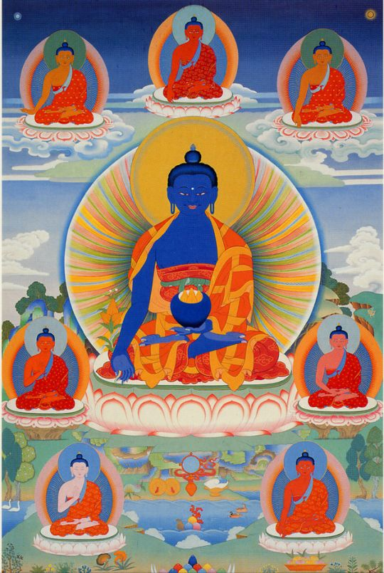 Medicine Buddha thangka by Peter Iseli