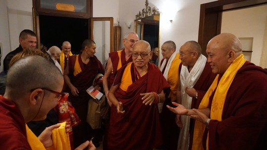 Lama Zopa Rinpoche arriving at Istituto Lama Tzong Khapa, Italy, October 2017. Photo by Ven. Lobsang Sherab.