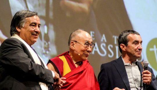 His Holiness the Dalai Lama at the Teatro Massimo in Palermo, Sicily, Itlay, September 18, 2017. Photo courtesy of Centro Muni Gyana.