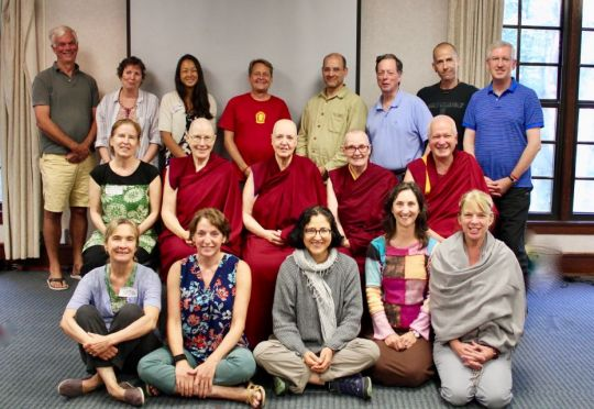 Participants of the FPMT North America Regional Meeting during the Light of the Path Retreat in Black Mountain, North Carolina, US, August 2017. Photo courtesy of Drolkar McCallum.