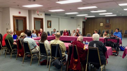 FPMT North America Regional Meeting during the Light of the Path retreat in Black Mountain, North Carolina, US, August 2017. Photo courtesy of Drolkar McCallum.