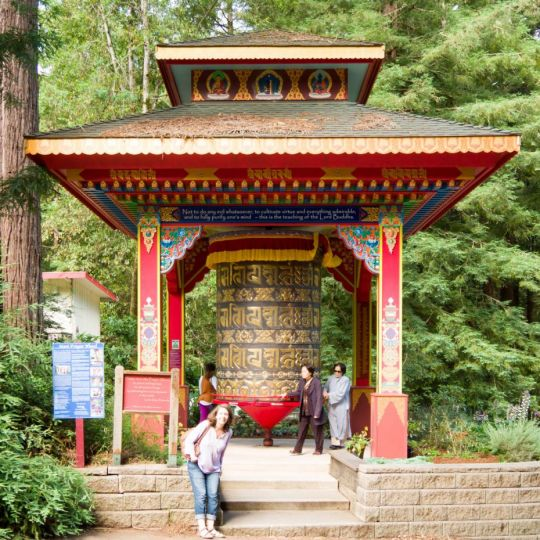 Mani prayer wheel at the Land of Medicine Buddha in Soquel, California, US, July 2017. Photo courtesy of Denice Macy.