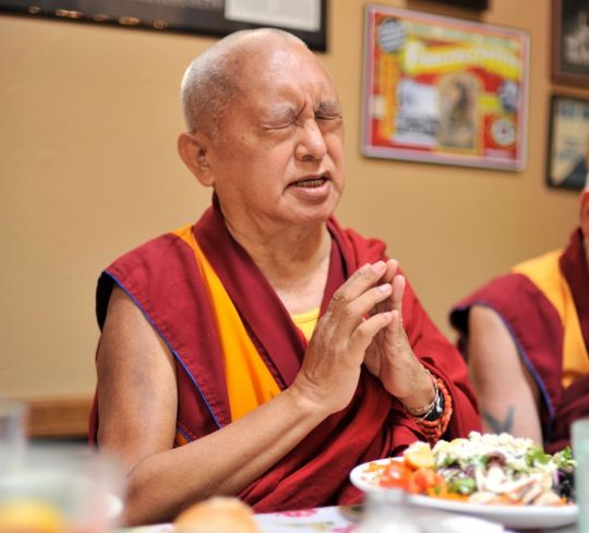 Lama Zopa Rinpoche blessing and offering food, Omak, Washington, US, August 2017. Photo by Ven. Lobsang Sherab.