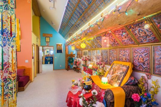 Room lined with holy objects at Buddha Amitabha Pure Land, June 2015. Photo by Chris Majors.