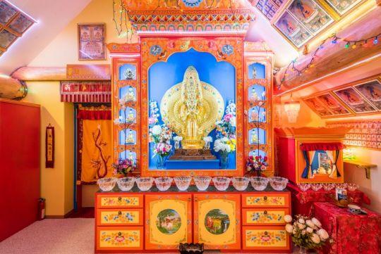 Room with Chenrezig statue at Buddha Amitabha Pure Land, June 2015. Photo by Chris Majors.