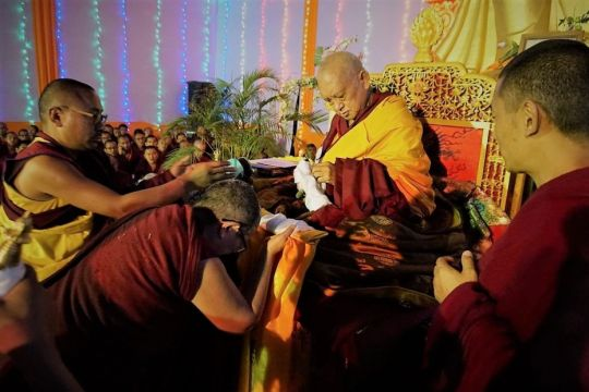 Guru Puja with tsog on Maitreya land, offered by Kopan monks and nuns, as well as Kopan monks from Sera, Sangha from Tsum, and Western students. Khadro-la also attended. Bodhgaya, India, January, 2017. Photo by Ven. Lobsang Sherab