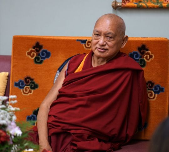 Lama Zopa Rinpoche, Light of the Path 2017, Black Mountain, North Carolina, US, September 2017. Photo by Ven. Lobsang Sherab.