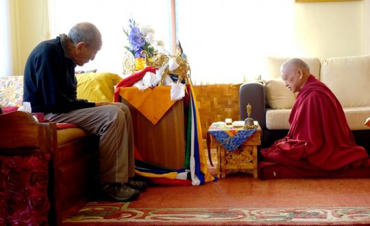 Lama Zopa Rinpoche with one of his teachers, Rato Rinpoche, Sera Je Monastery, India, January 2016. Photo by Ven. Roger Kunsang.