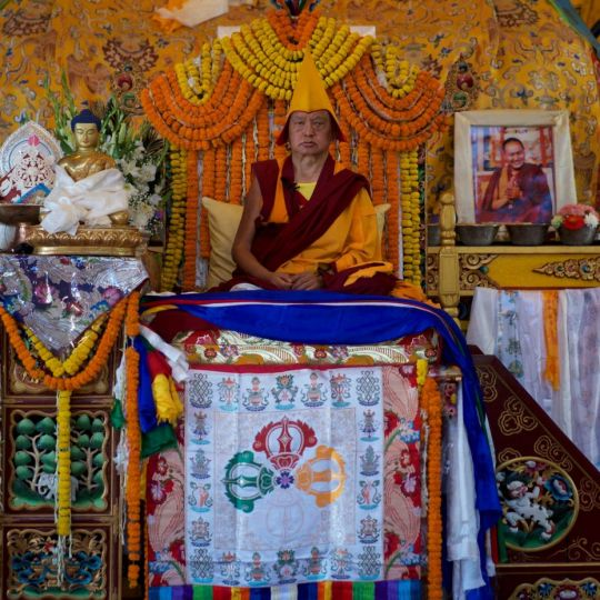 rinpoche with statue kopan 2017 bill kane