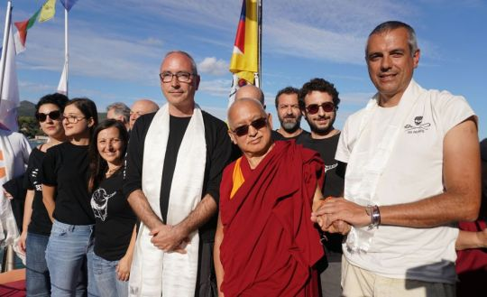 Lama Zopa Rinpoche on Sea Shepherd boat