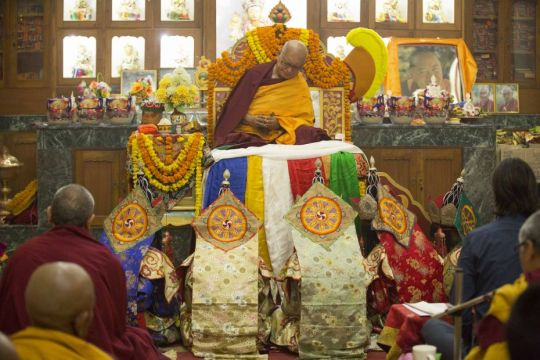 Lama Zopa Rinpoche and five dakini dancers during a long life puja, Tara Temple, Sarnath, India, February 2016. Photo by Paolo Regis.