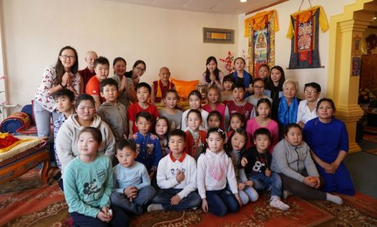 Mahayana Children's Programme with Lama Zopa Rinpoche. Photo courtesy of FPMT Mongolia.