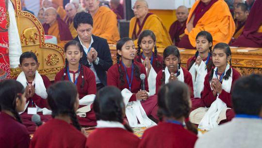 maitreya students chanting for dalai lama bodhgaya india 201801