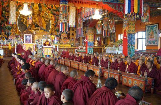 Lama Chöpa puja on the morning of Losar, Kopan Monastery, Kathmandu, Nepal, February 2017. Photo by Ven. Lobsang Sherab.