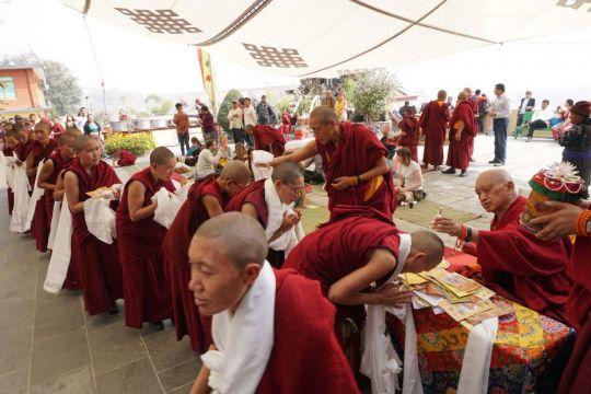 Lama Zopa Rinpoche blessed all 800 monks and nuns of Kopan Monastery and Nunnery as well as guests during lunch on Losar, Kathmandu, Nepal, February 2017. Photo by Lobsang Sherab.