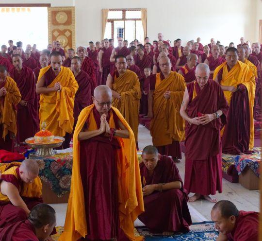 Lama Zopa Rinpoche doing prostrations before giving Hayagriva oral transmissions, Drati Khangsten, Sera Je Monastery, Bylakuppe, India, November 2017. Photo by Ven. Lobsang Sherab.
